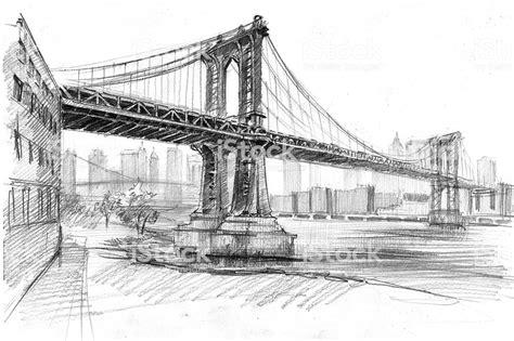 pencil drawing  manhattan bridge   york stock