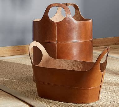 hayes leather storage baskets pottery barn
