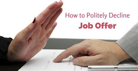 politely decline job offer tips