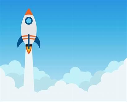 Rocket Launch Banner Start Business Cloud Vector