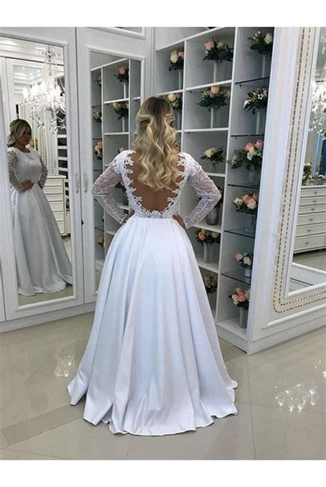 A-Line Long White Lace Prom Dresses Formal Evening Gowns ...
