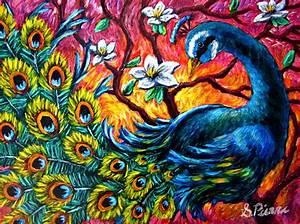 Luminous Peacock Painting by Sebastian Pierre