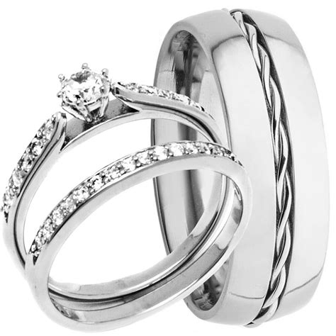 men s rope titanium band and women s sterling silver