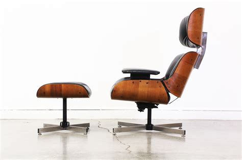eames style black leather lounge chair w ottoman