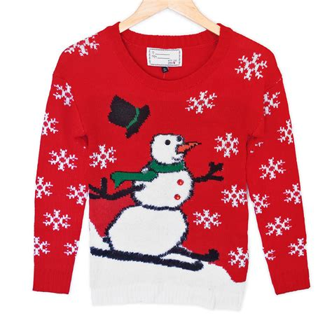 hairy skiing snowman tacky ugly christmas sweater plays
