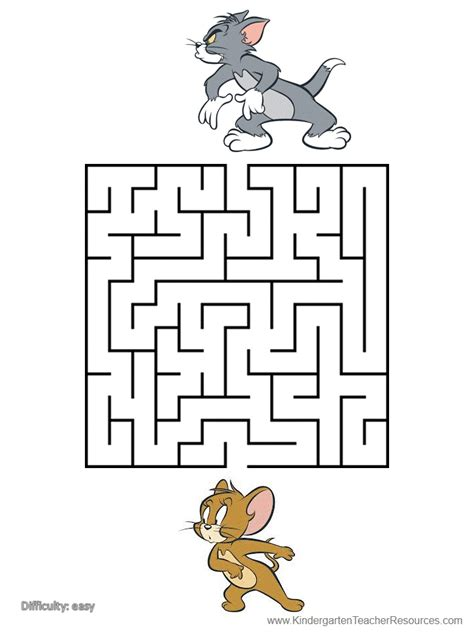printable mazes  tom  jerry