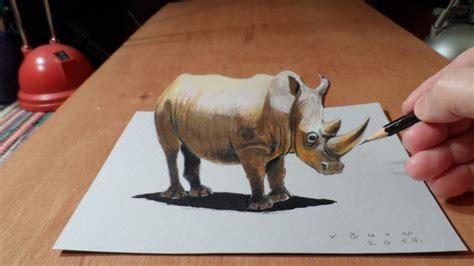 drawing  rhinoceros  trick art youtube