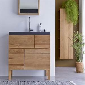 meuble en chne et vasque pierre de lave easy solo vente With meuble salle de bain pierre