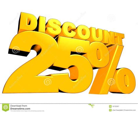 3d 25% Discount Sign Stock Illustration. Illustration Of