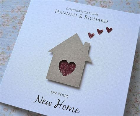 Personalised New Home House Card Handmade House And Hearts