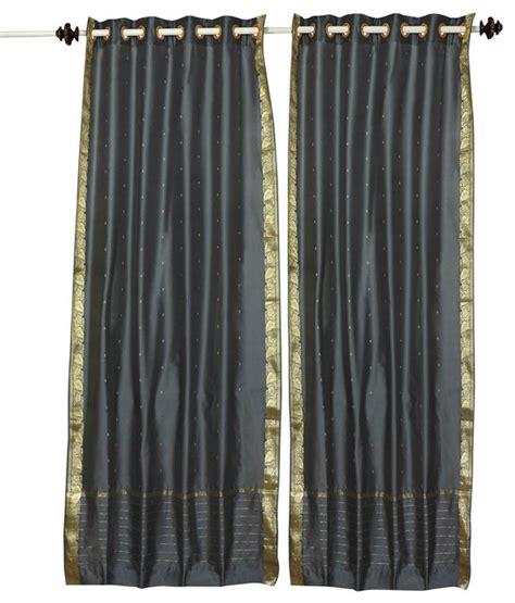 gray ring top sheer sari curtain drape and panel