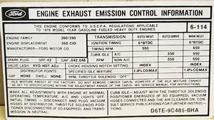 1976 360 At Emission Decal