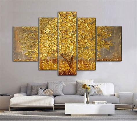 golden abstract fortune lucky trees handmade landscape oil