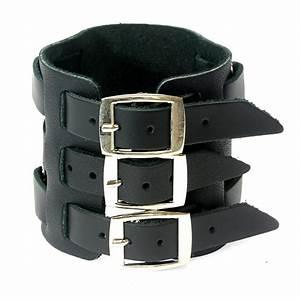 Black Leather Wide Triple Strap Cuff Wrap Gothic Wristband ...