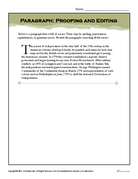 Paragraph Proofing And Editing  Printable Writing Worksheets