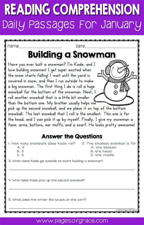 reading comprehension passages and questions for january