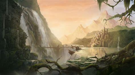 Обои фэнтези, 5k, 4k, город, арт, река, водопад, Matte