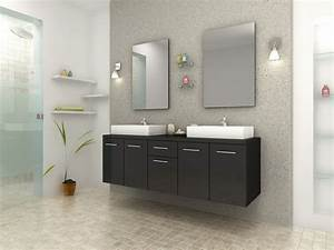Meuble Vasque Double : meuble de salle de bain design double vasque rectangulaire noir ~ Teatrodelosmanantiales.com Idées de Décoration