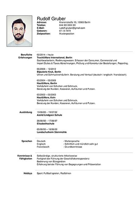 curriculum vitae resume template sle german austria