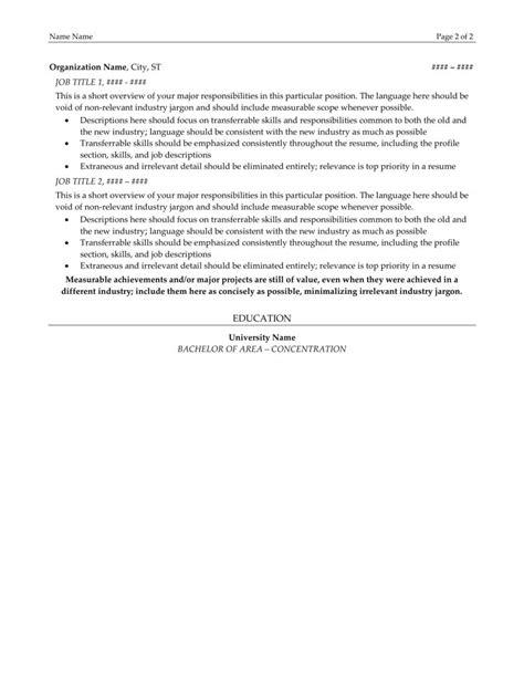Transition Resumes by Resume Exles Resume Lezlie