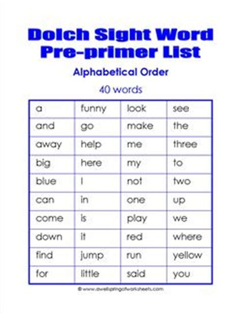 dolch primer pre primer dolch word list alphabetical order a wellspring