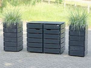 Holz Farbe Anthrazit : 2er m lltonnenbox holz f r 120 l 240 l tonnen farbe anthrazit house tips designs in ~ Orissabook.com Haus und Dekorationen