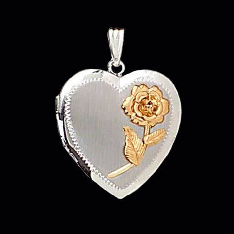 tone heart locket  rose accent  gracious rose