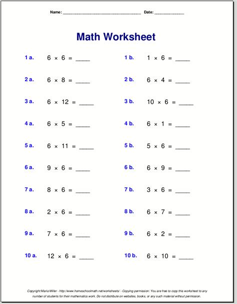 multiplication worksheets  grade