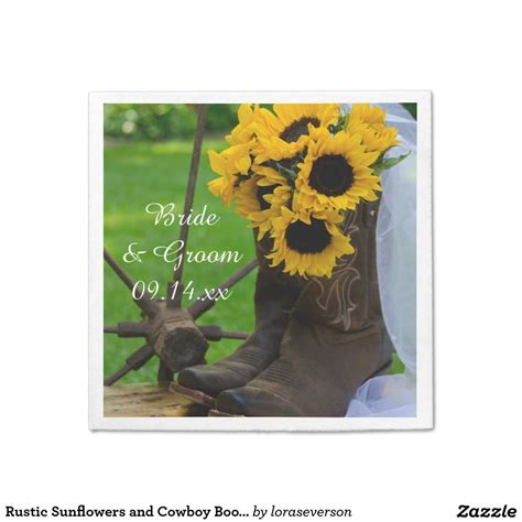 rustic sunflowers  cowboy boots western wedding napkins