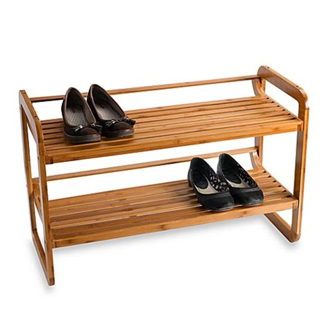 bamboo shoe rack neu home 2 tier stackable bamboo shoe rack bed bath beyond