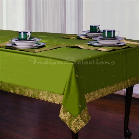 Forest Green  Handmade Sari Tablecloth (india) Ebay