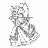 Archer Princess Coloring Outlined Illustration Vectors sketch template