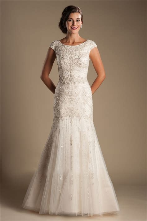 modest mermaid boat neck cap sleeve tulle embroidery