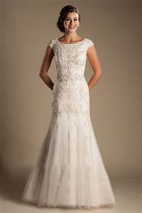 modest mermaid boat neck cap sleeve tulle embroidery With boatneck wedding dress