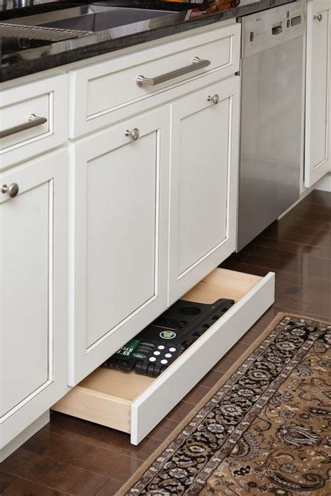 toe kick drawer  extra kitchen storage diy