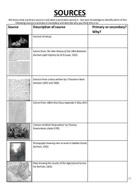 worksheets primary vs secondary sources worksheet