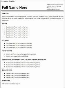 resume templates job resume template free word With how to do a resume for a job for free