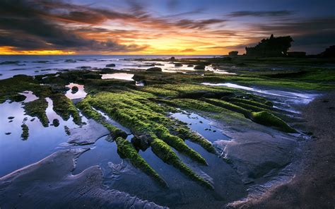fonds decran tanah lot bali indonesie mer plage