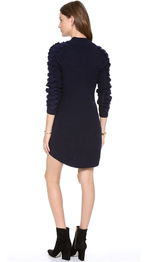 navy sweater dress lyst theyskens 39 theory karessa sweater dress in blue