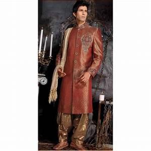 Tenue Indienne Homme : achat tenue indienne de mari marron brod et incrust de pierres tenue indienne de mari ~ Teatrodelosmanantiales.com Idées de Décoration