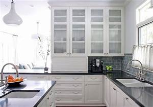 Glass front upper cabinets white kitchen dark counters for Kitchen cabinet doors with glass