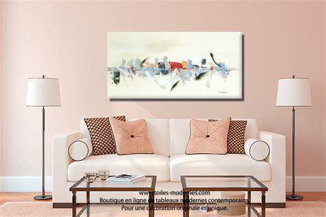 peinture pour canapé tableau beige blanc crème déco grand format création inédite reflets sur l 39 eau