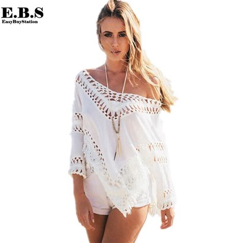 White Swimsuit Cover Up by 2015 Sexy White Blouse Crochet Beach Cover Up Swimsuit