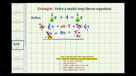 ex 1 solve an equation with fractions with variable terms