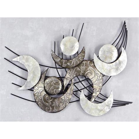 wanddeko metall silber design wanddeko wandbild muschel modern metall 91x75cm monde silber wandbilder wanddeko