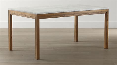 marble and wood dining table parsons white marble top elm base dining tables crate