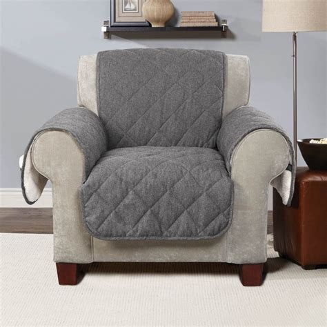 sure fit reversible flannel and sherpa chair cover with