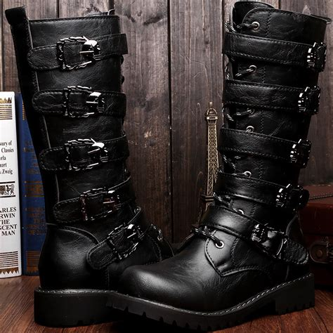 high top motorcycle boots 2015 autumn winter men 39 s knee high fashion punk rock boots