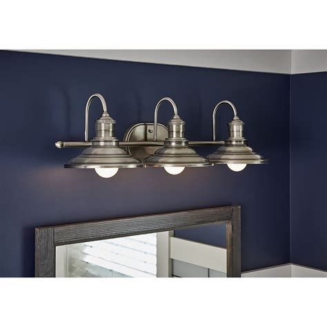 Lowes Lighting Fixtures Bathroom by Allen Roth 3 Light Hainsbrook Antique Pewter Bathroom