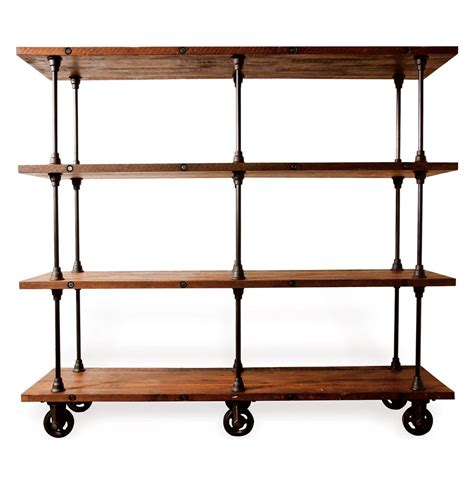 Allenby Industrial Reclaimed Wood 4 Shelf Rolling Bookcase